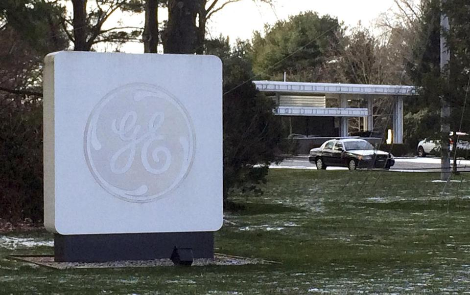 The GE logo adorned a sign on the company's corporate headquarters in Fairfield, Conn.